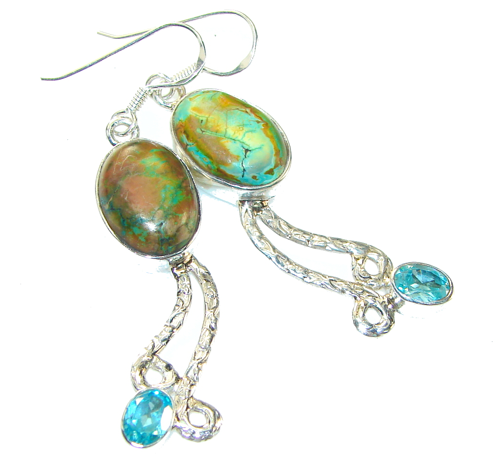 Image of Classy! Green Copper Turquoise Sterling Silver earrings