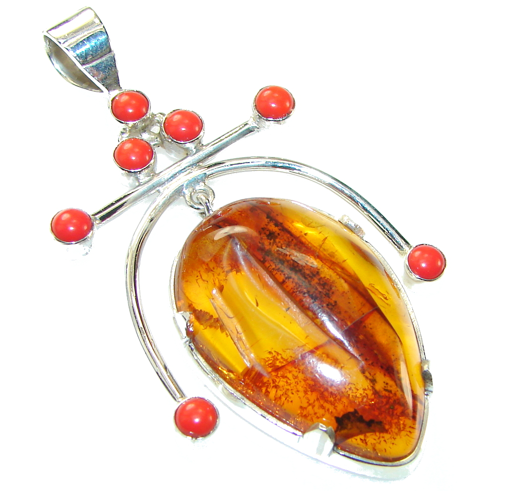 Amazing!! Polish Amber Sterling Silver Pendant
