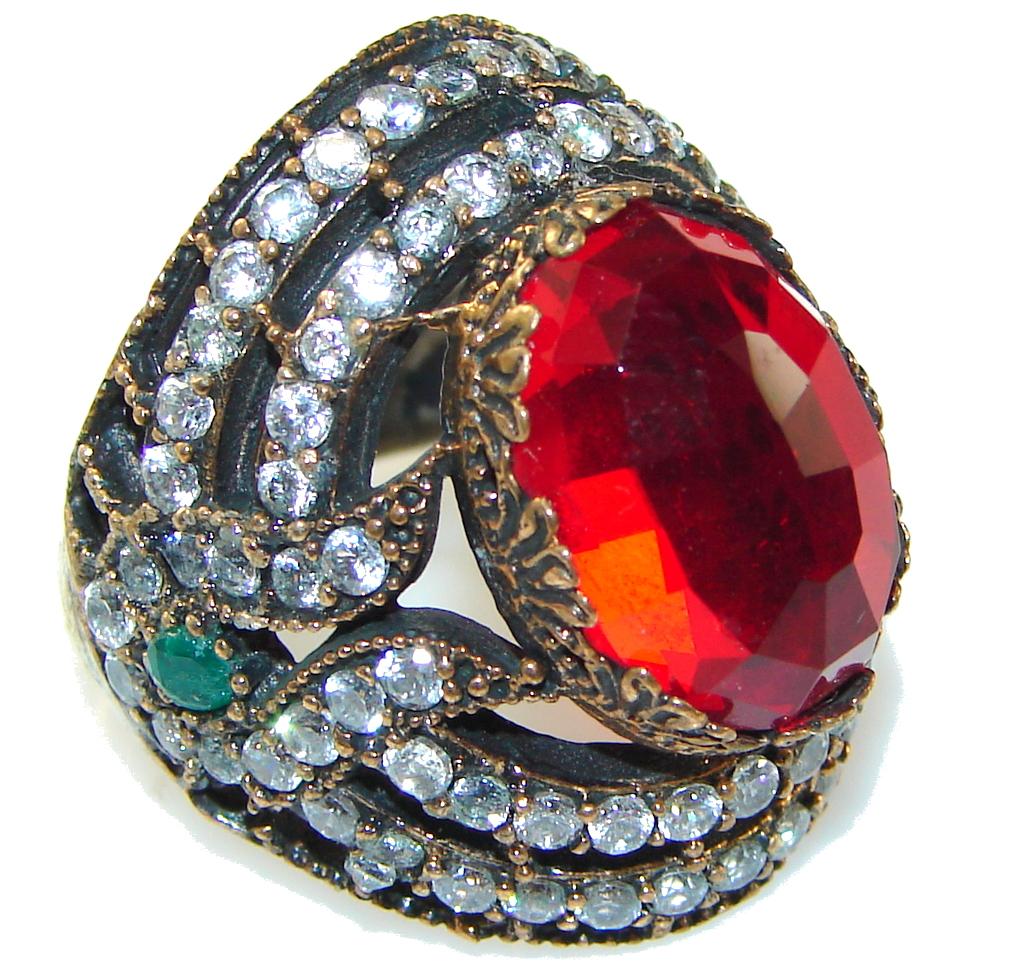 Power Love!! Red Quartz Sterling Silver Ring s. 7 1/4