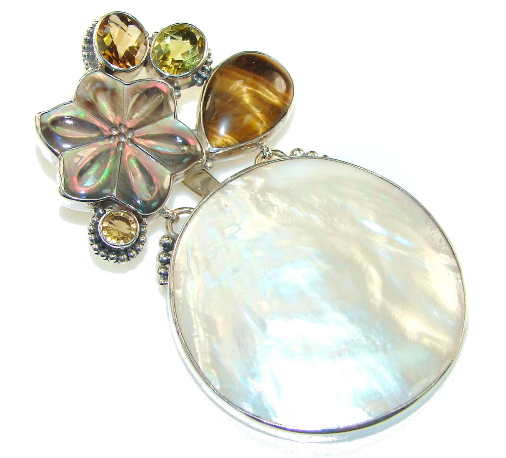 Large!! Fabulous Design! Blister Pearl Sterling Silver pendant