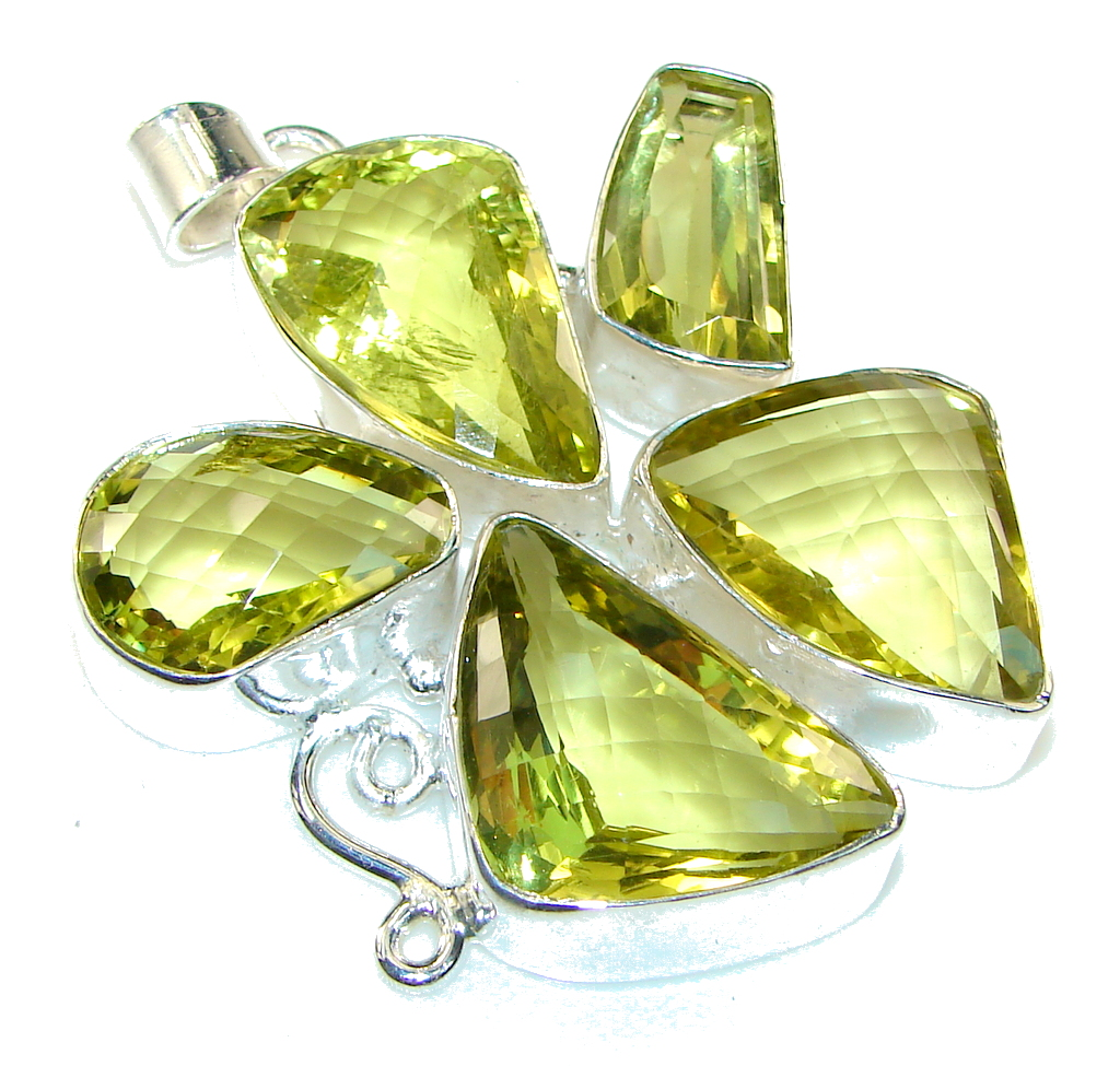 Big! Summer Time!! Yellow Citrine Sterling Silver Pendant