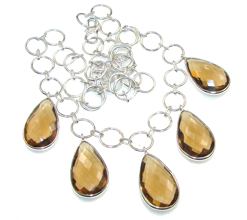 Delicate Design!! Brown Smoky Topaz Sterling Silver necklace