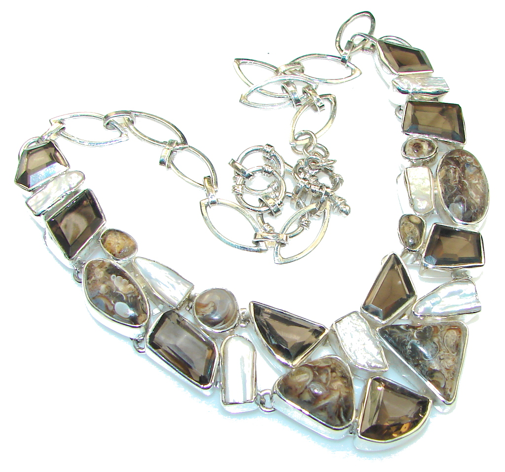 Wild Beauty! Brown Smoky Topaz Sterling Silver necklace