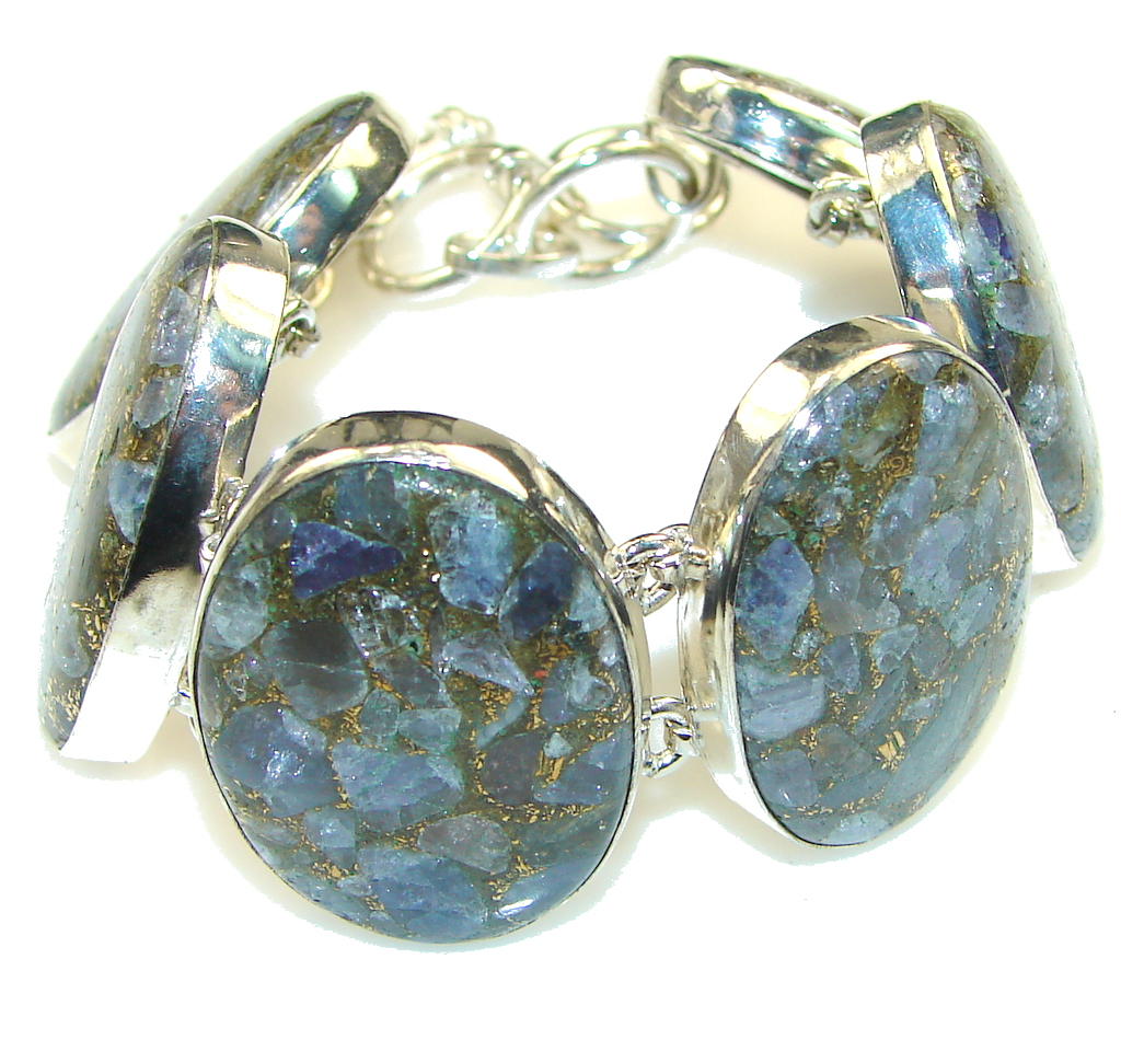 Fabulous!! Crashed Copper Blue Aquamarine Sterling Silver Bracelet