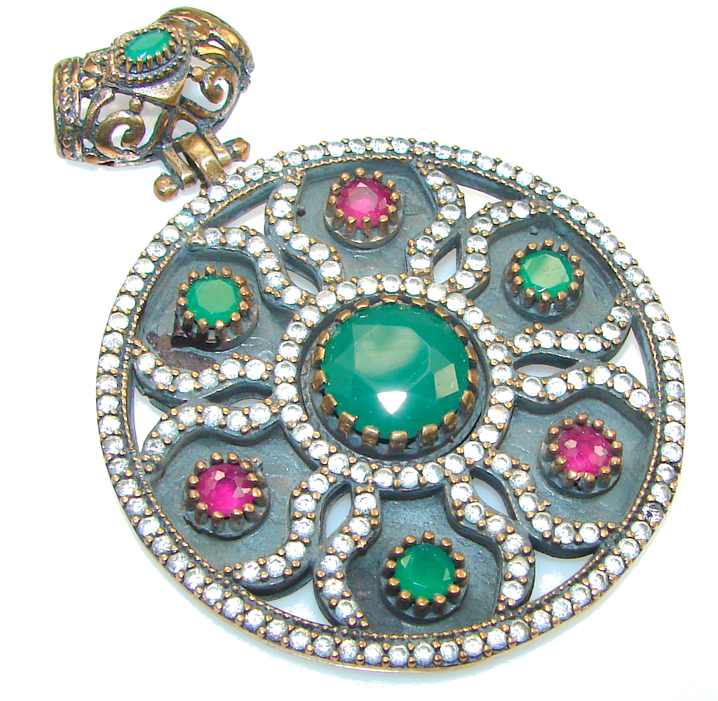 Victorian Style!! Green Emerald Sterling Silver Pendant