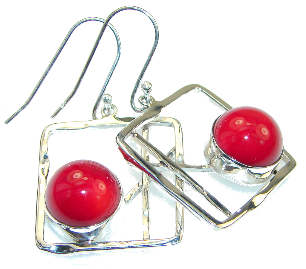 Fashion!! Red Fossilized Coral Sterling Silver earrings