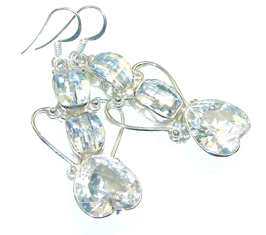 Image of Big!! Ray Of Light!! White Topaz Sterling Silver earrings