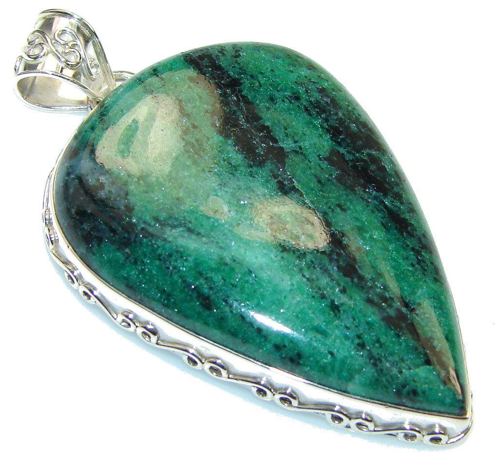 Amazing! Ruby in Zoisite Sterling Silver Pendant