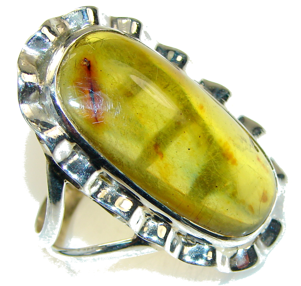 Big! Special Moment!! Polish Amber Sterling Silver Ring s. 11