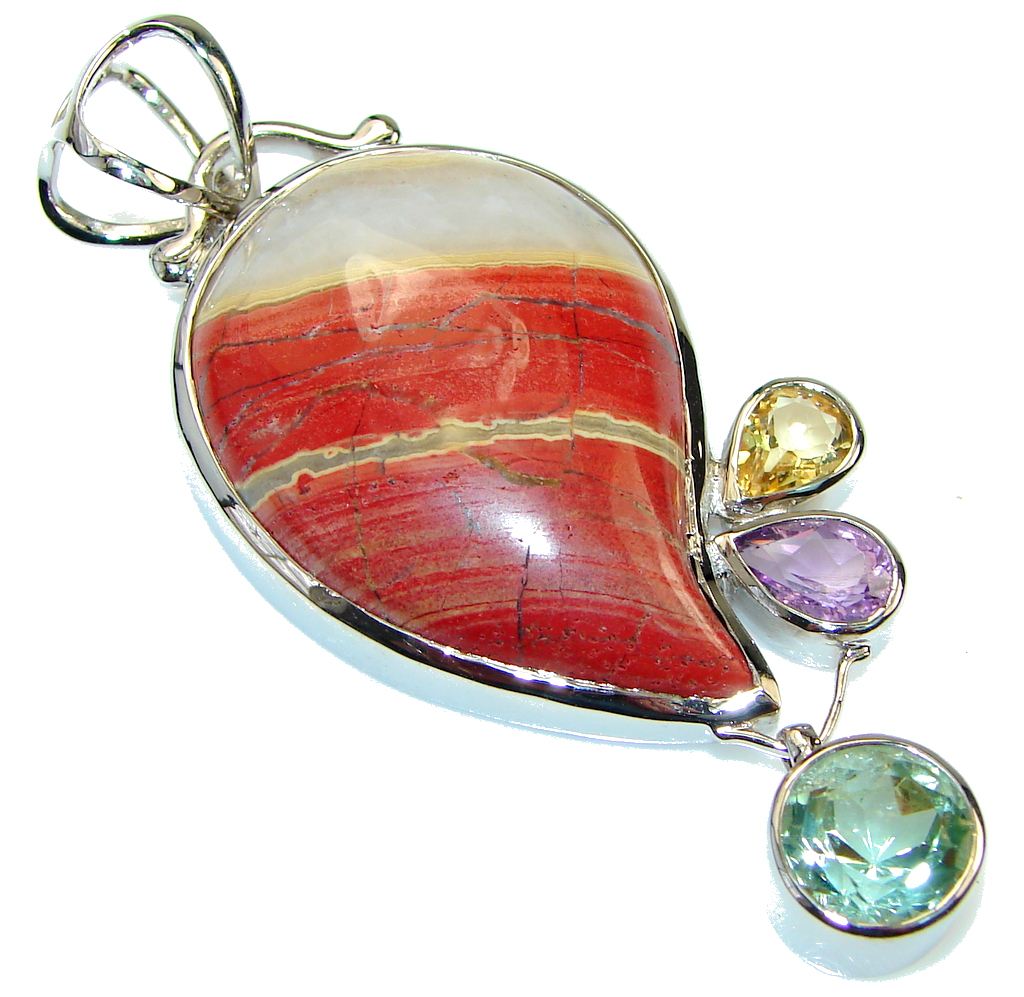 Image of Sublime Quality Red Zebra Jasper Sterling Silver Pendant