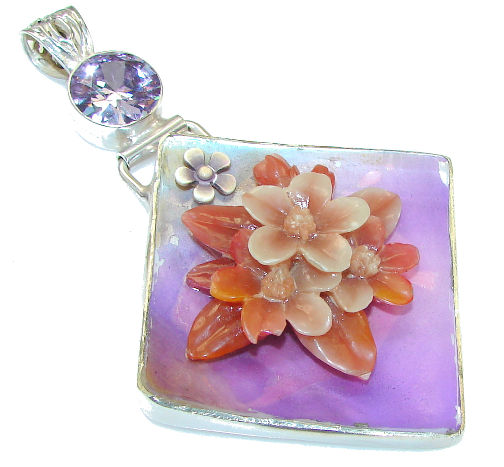 jewelpearl.com Precious Design!! Mother Of Pearl Silver Overlay Pendant
