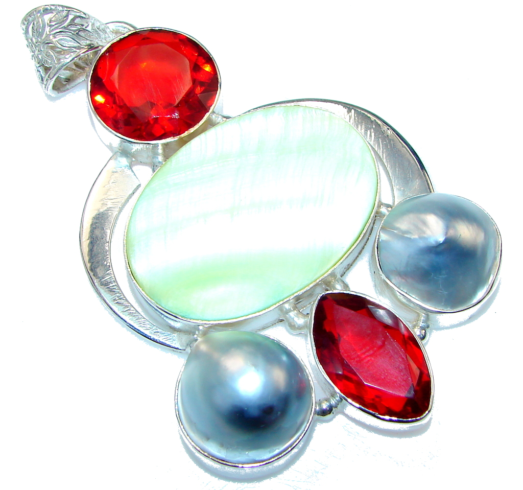 Large! New Design!! Blister Pearl Silver Overlay pendant