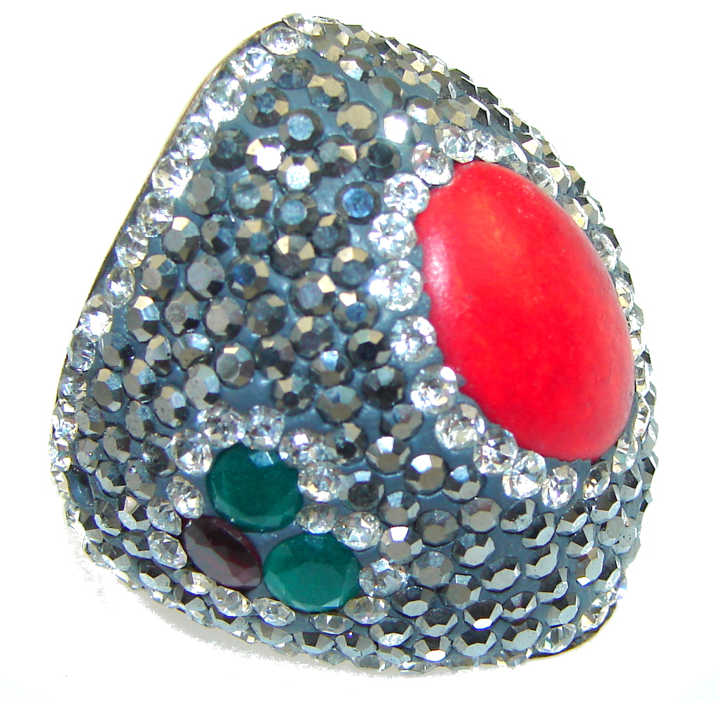 Big! Turkish Red Fossilized Coral Sterling Silver ring s. 7 1/4