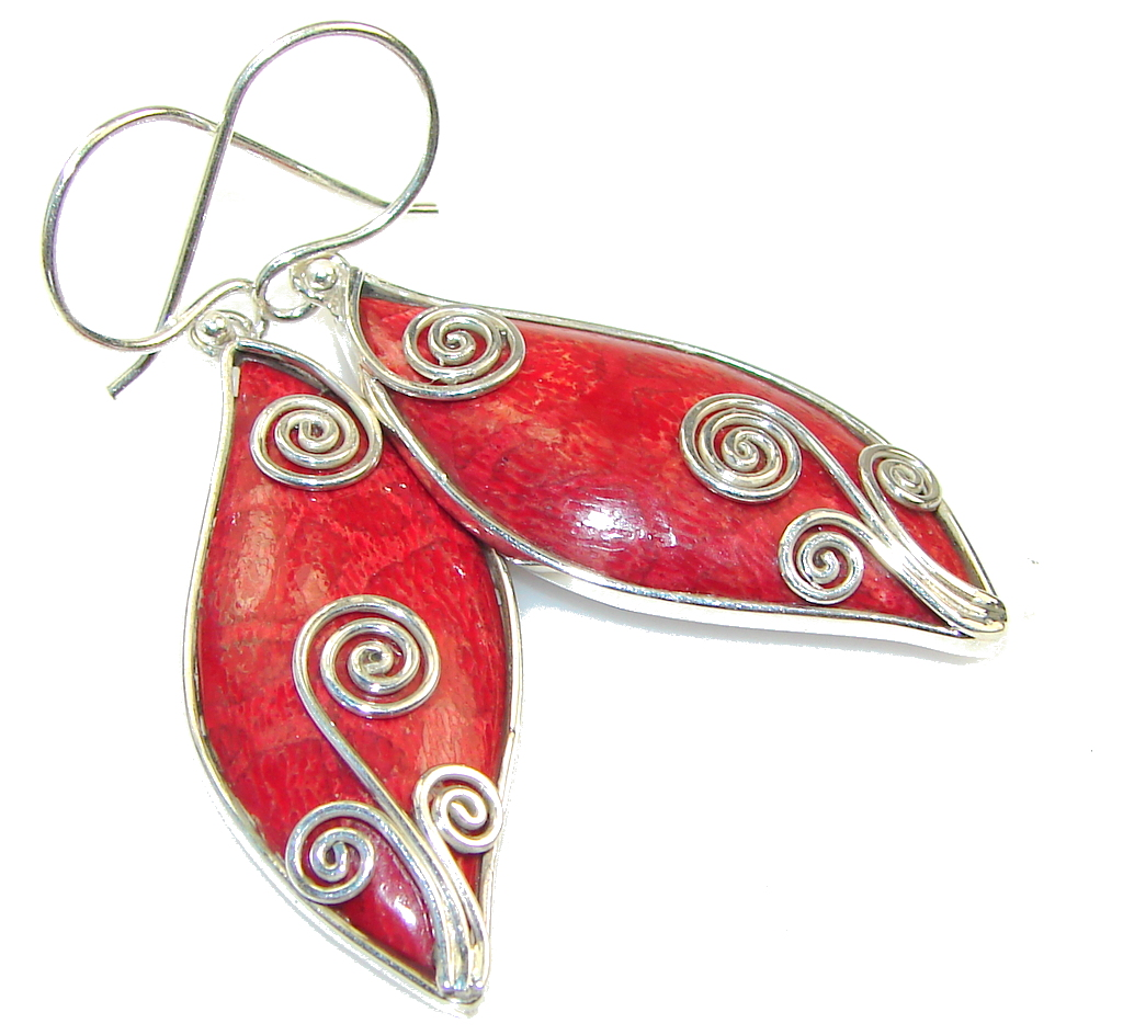 Lovely!! Red Fossilized Coral Sterling Silver earrings