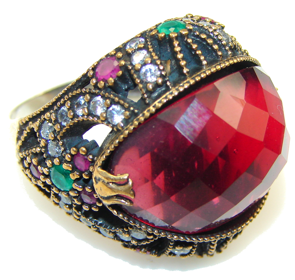 Big Stylish Red Garnet Quartz Sterling Silver Ring s. 8