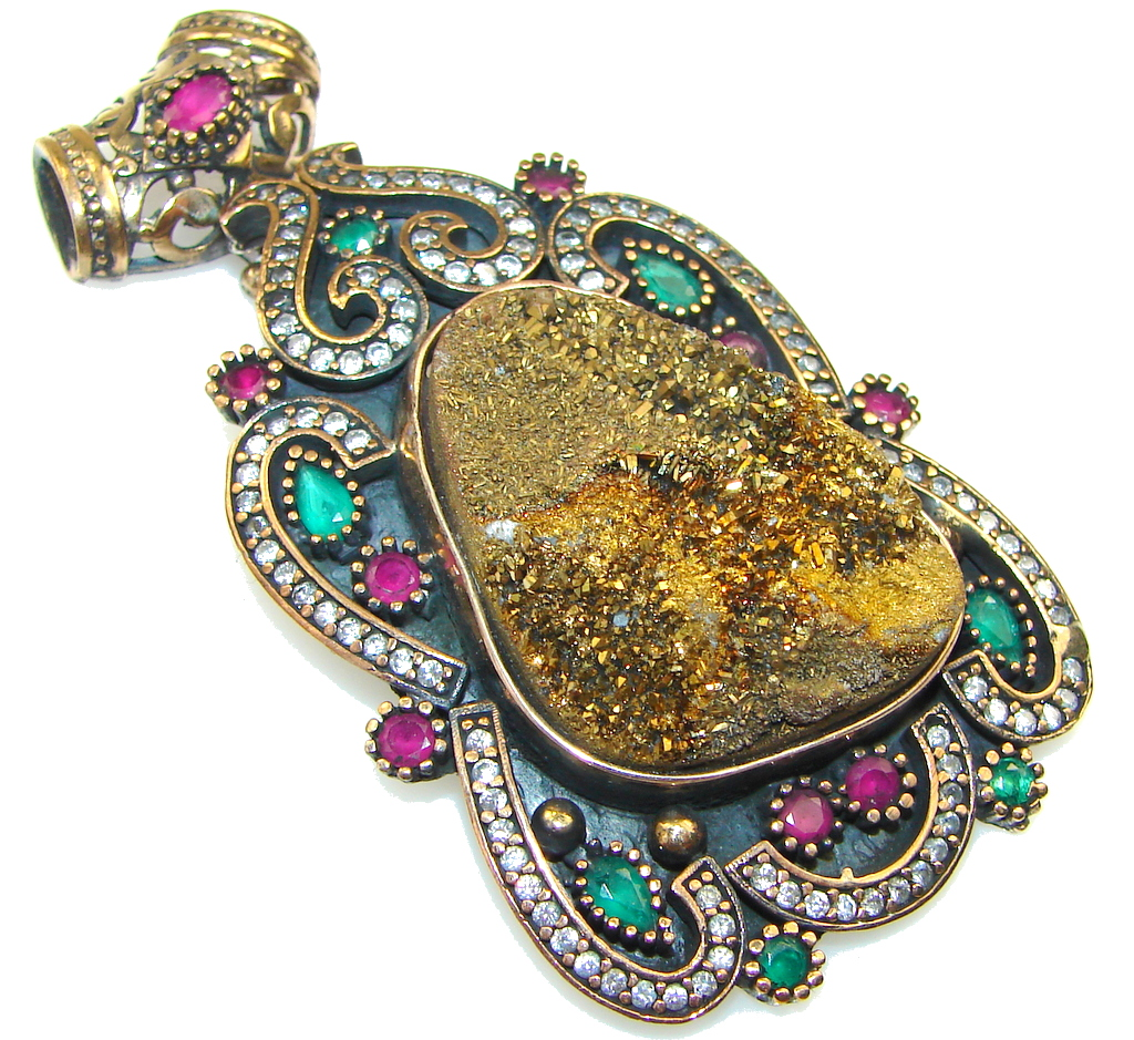 Victorian Style Golden Druzy Sterling Silver Pendant