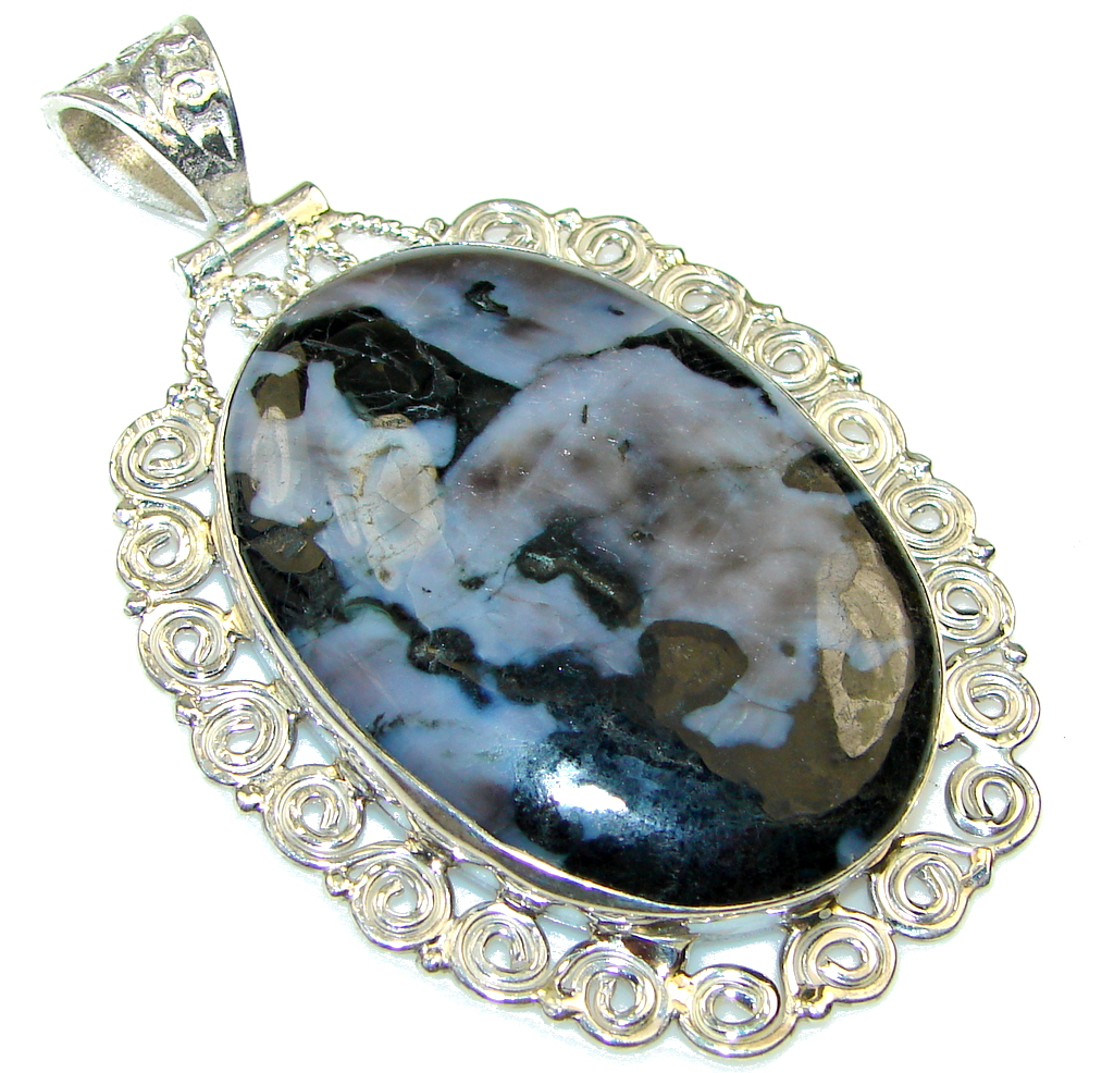 Great Design Black Obsidian Sterling Silver Pendant