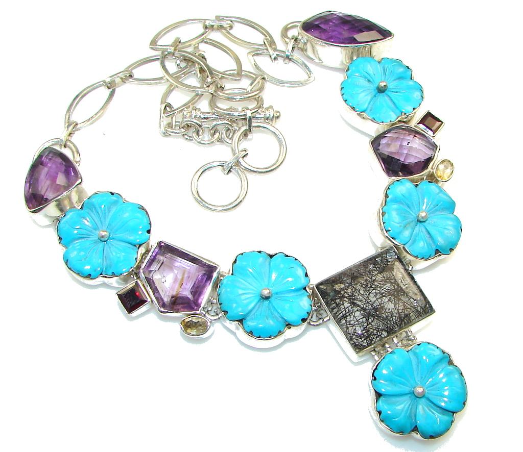 Summer Design Carved Turquoise Sterling Silver Necklace