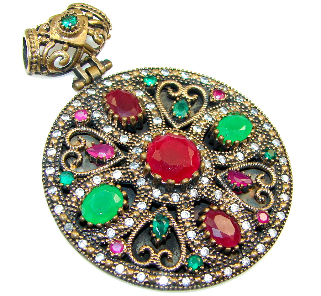 Marvelous Victorian Style Red Ruby Sterling Silver Pendant