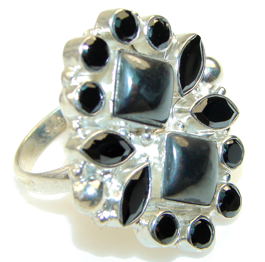 Very Unusual Hematite Sterling Silver Ring s. 10