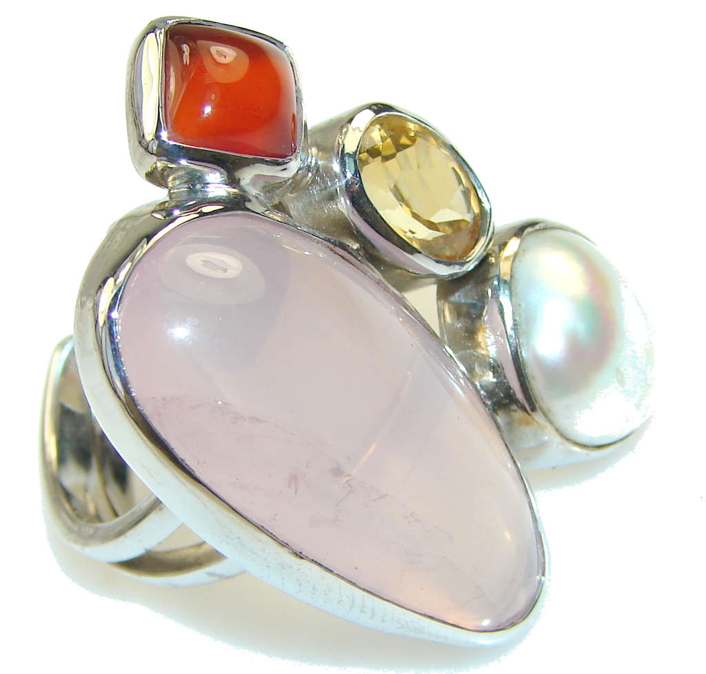 Beautiful Rose Quartz Sterling Silver Ring s. 7 - Adjustable