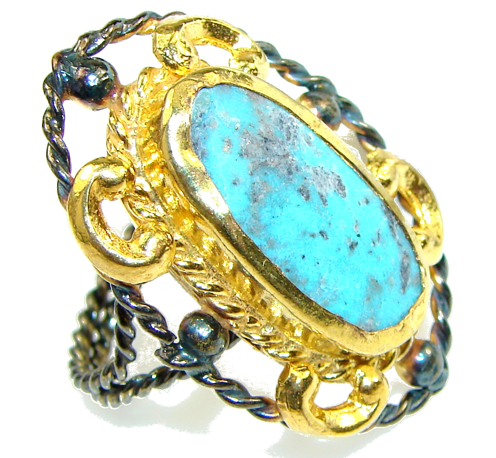 Amazing Blue Turquoise, Gold Plated, Rhodium Plated Sterling Silver Ring s. 7 - Adjustable