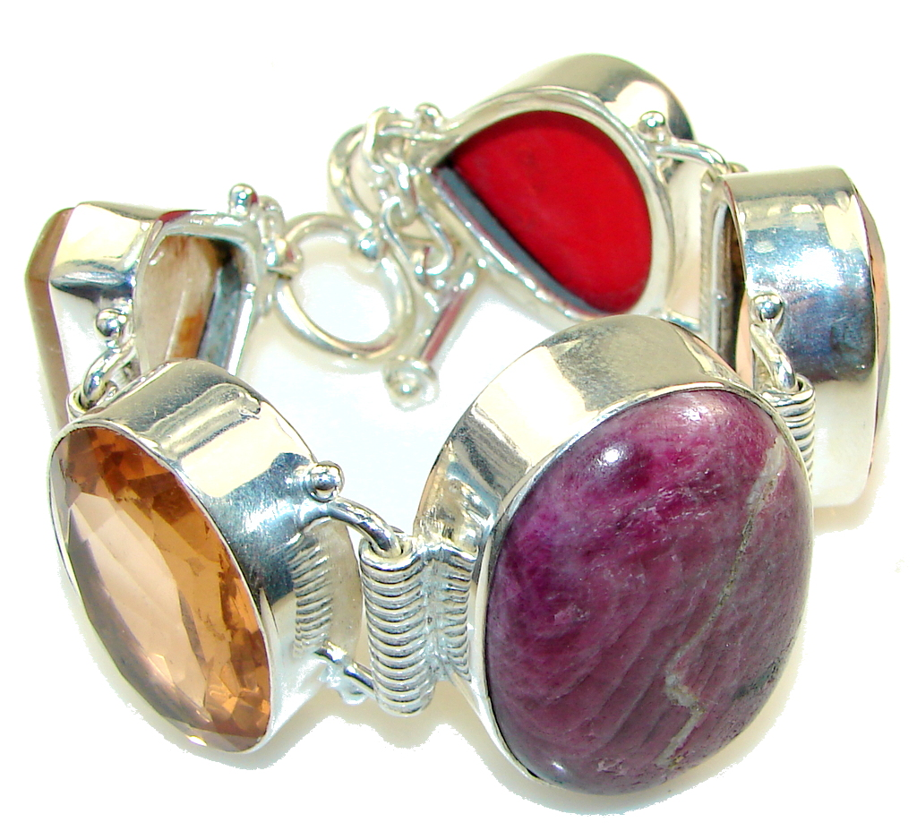 Excellent Ruby In Zoisite Silver Overlay Bracelet