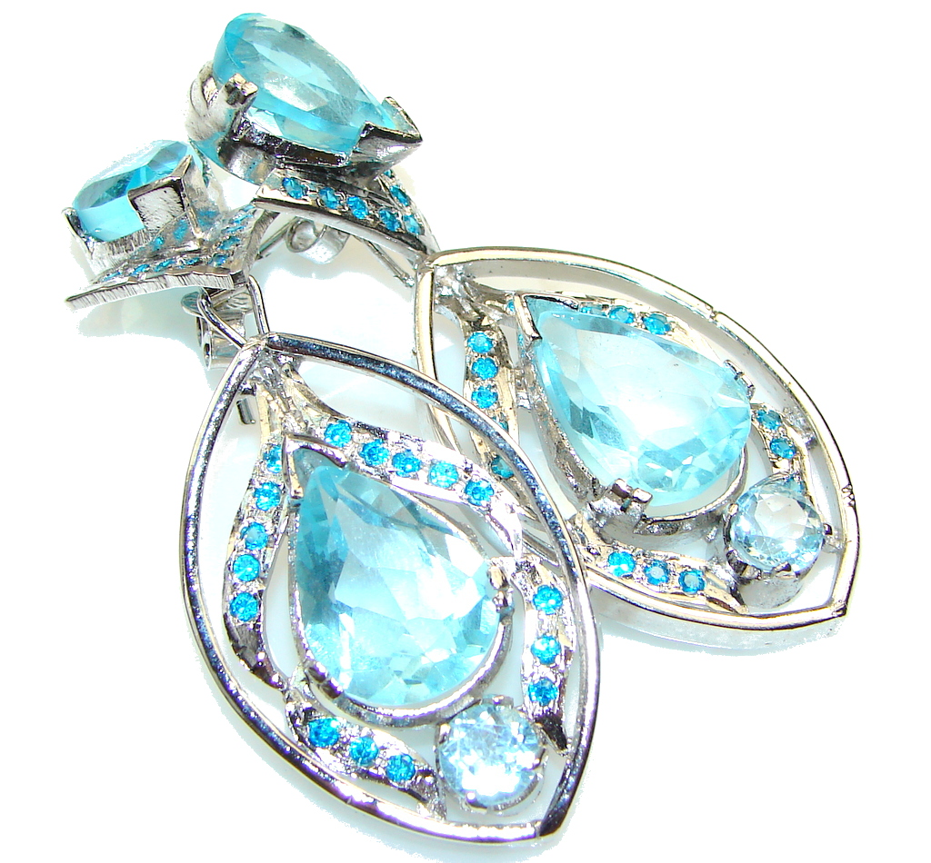 Large Brazilian Sea!! Swiss Blue Topaz Sterling Silver earrings
