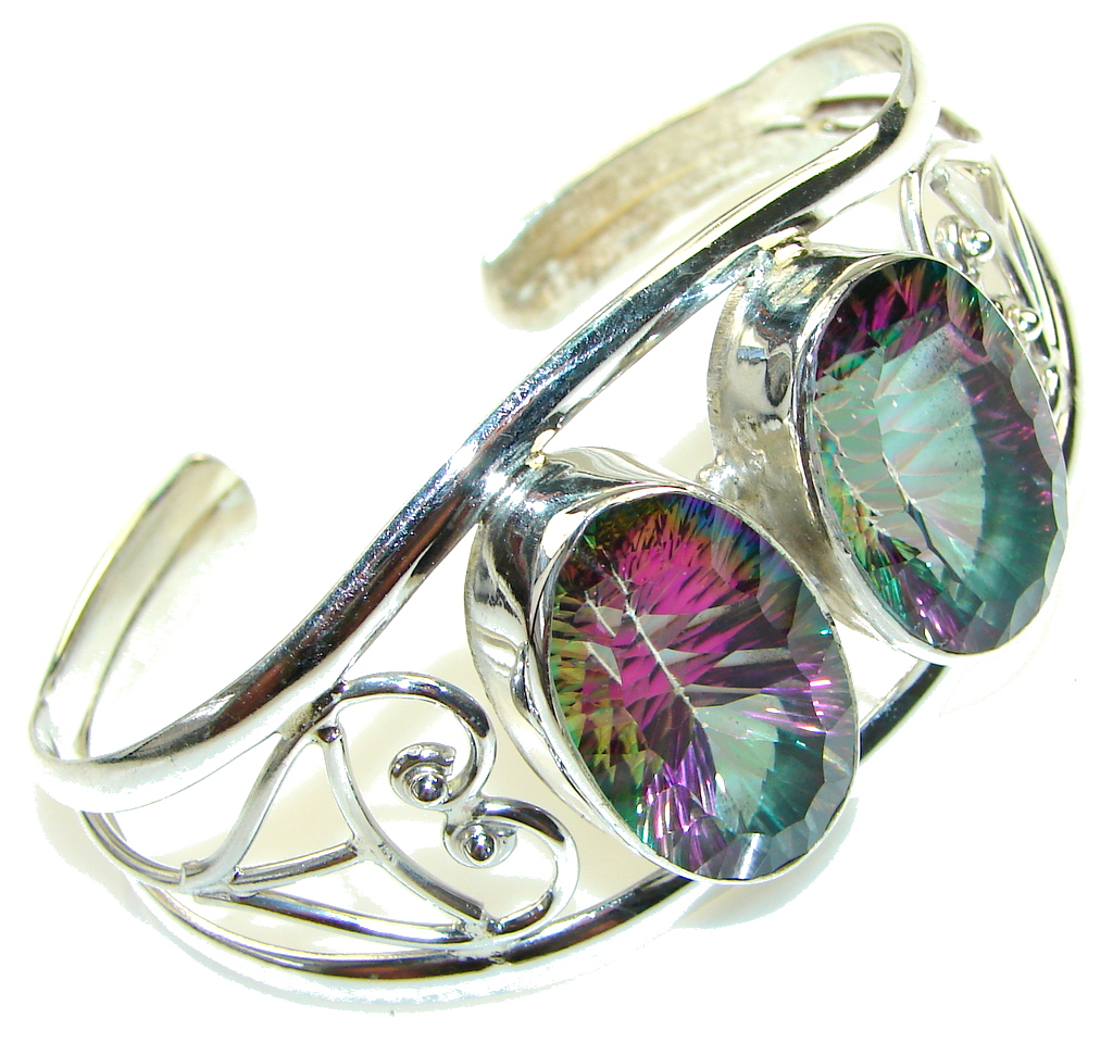 Love's Victory! Rainbow Magic Topaz Sterling Silver Bracelet / Cuff