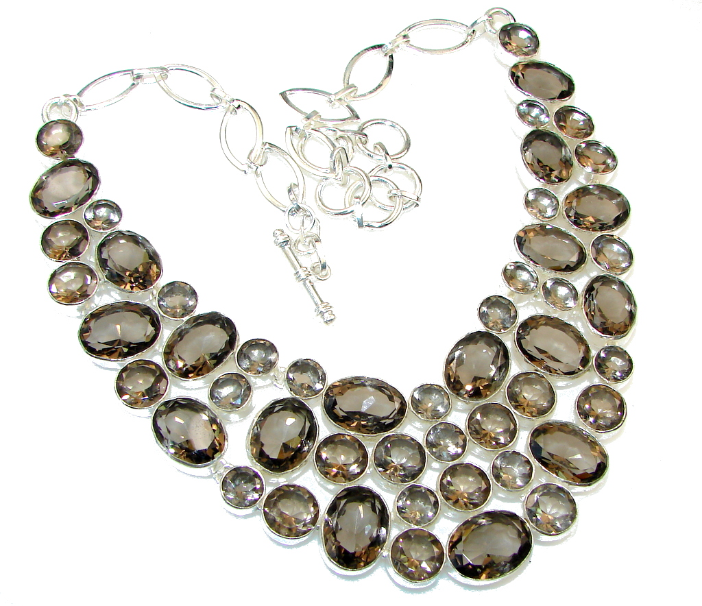 Falling In Love!! Brown Smoky Topaz Sterling Silver necklace