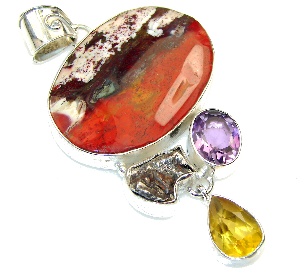 Big! Beautiful!! Red Sonora Jasper Sterling Silver Pendant