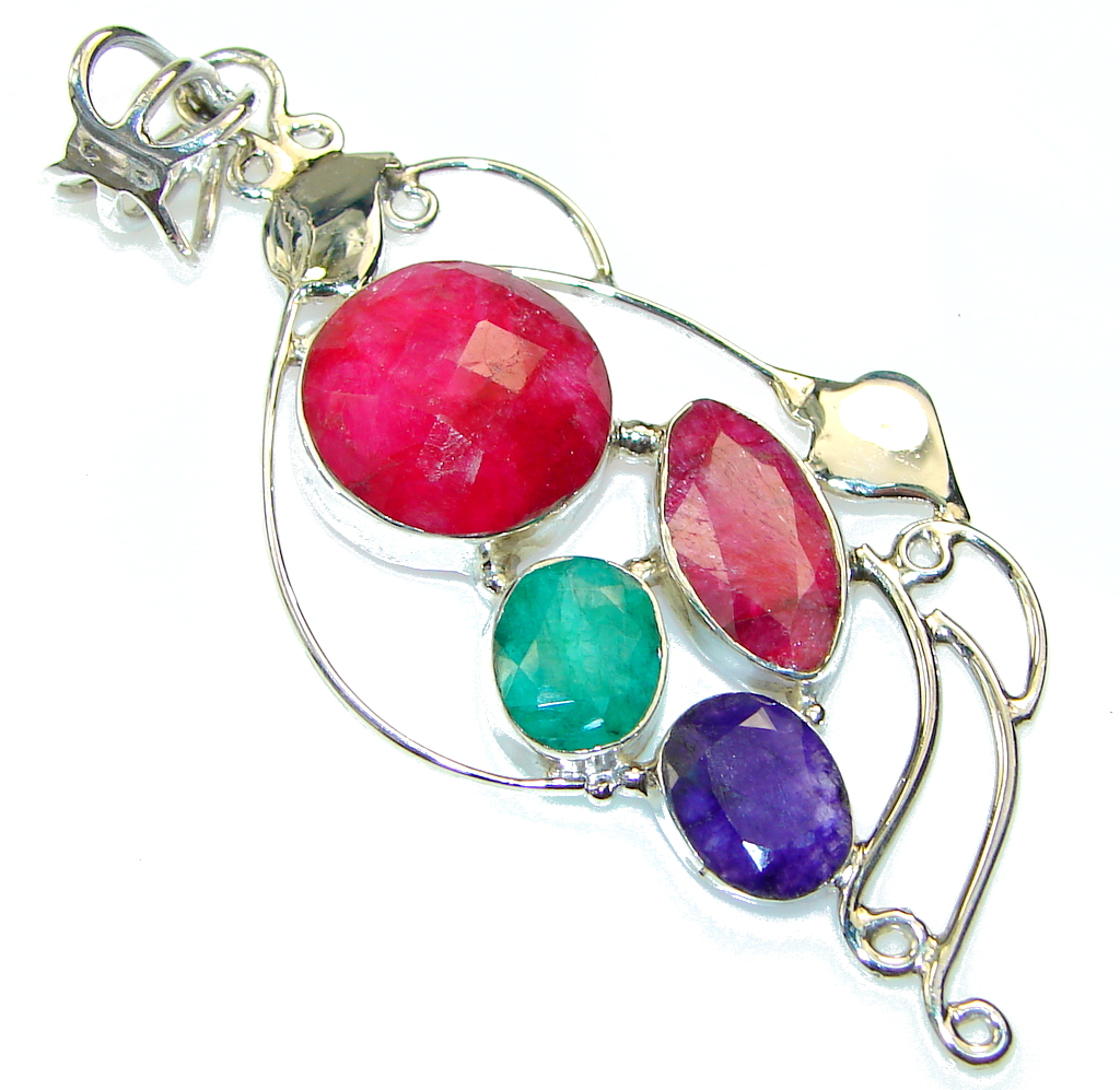 Natural!! Pink Ruby, Emerald, Sapphire Sterling Silver Pendant