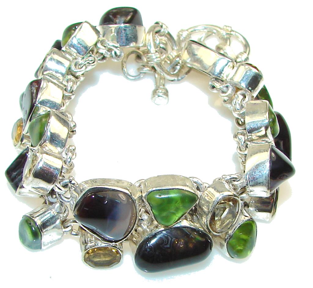 Aura Of Beauty!! Agate Sterling Silver Bracelet