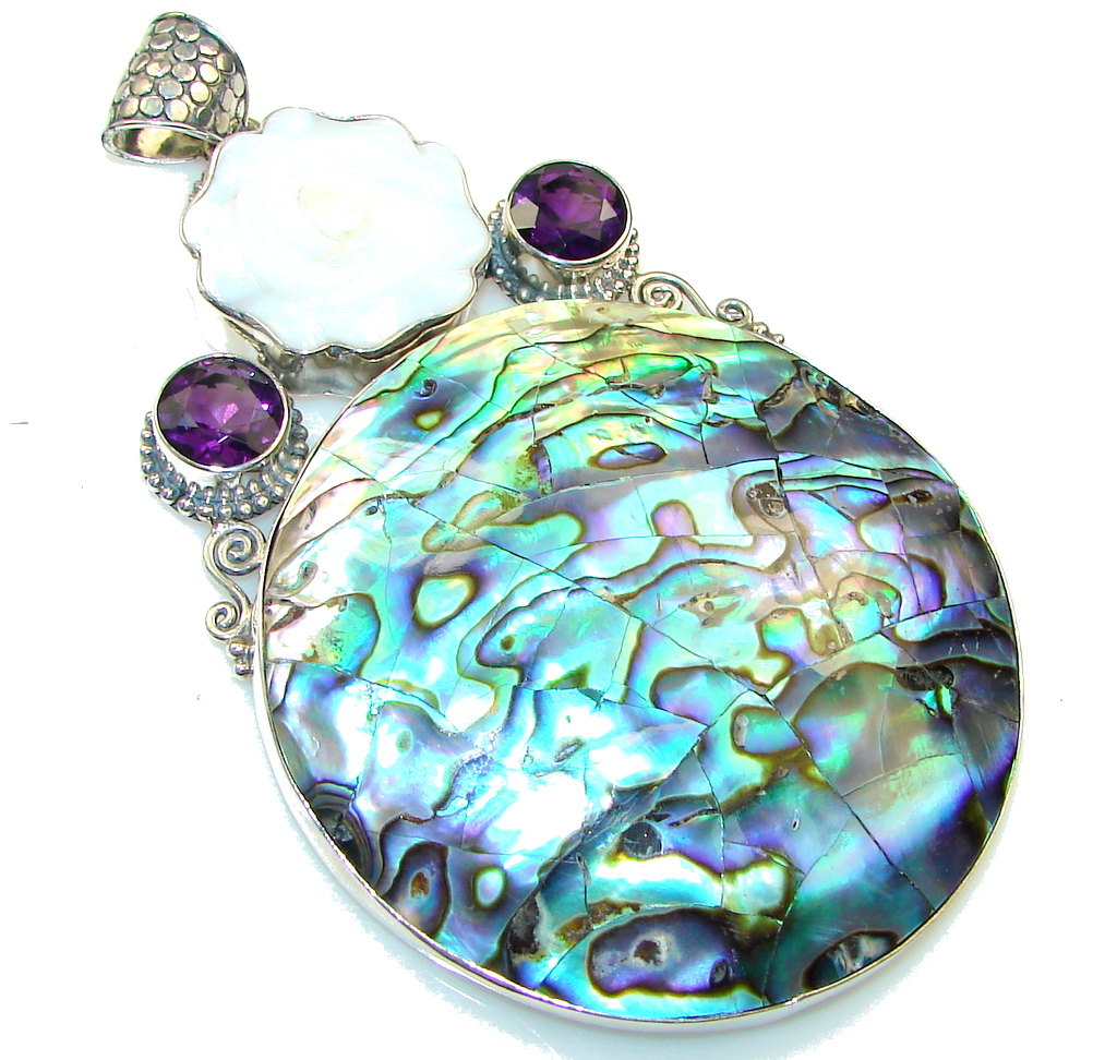 Giant!! Amazing Rainbow Abalone Sterling Silver Pendant