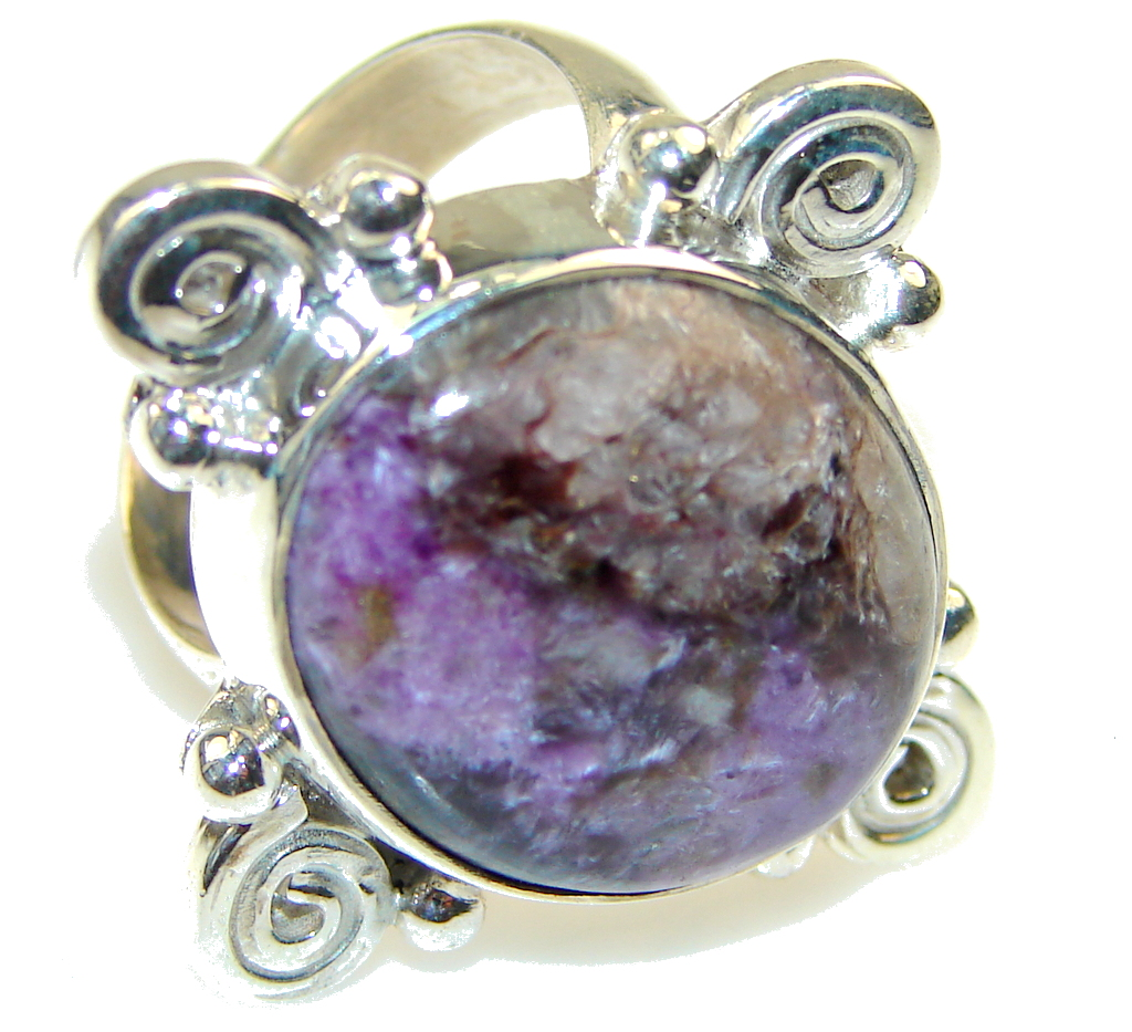 Amazing!! Purple Tiffany Jasper Sterling Silver ring s. 9