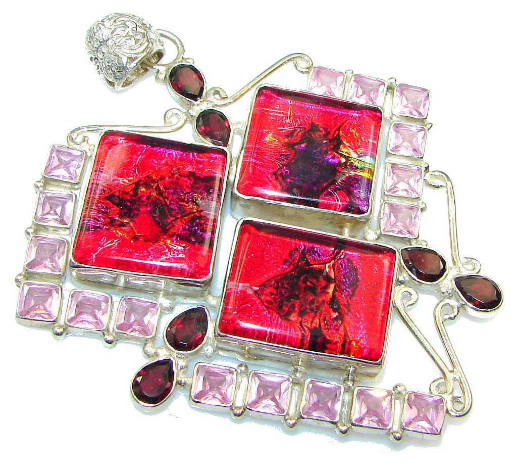 Huge!! Party Time! Dichroic Glass Sterling Silver pendant