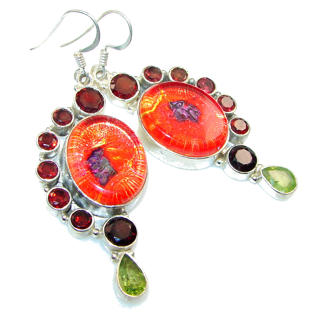 Fashion Dichroic Glass Sterling Silver earrings
