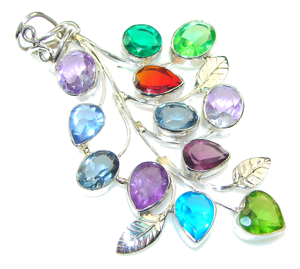 Ray Of Light! Multicolor Quartz Sterling Silver Pendant 85750