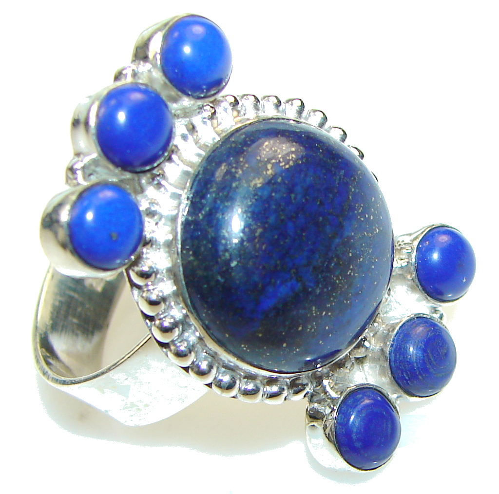 Excellent!! Blue Lapis Lazuli Sterling Silver Ring s. 11