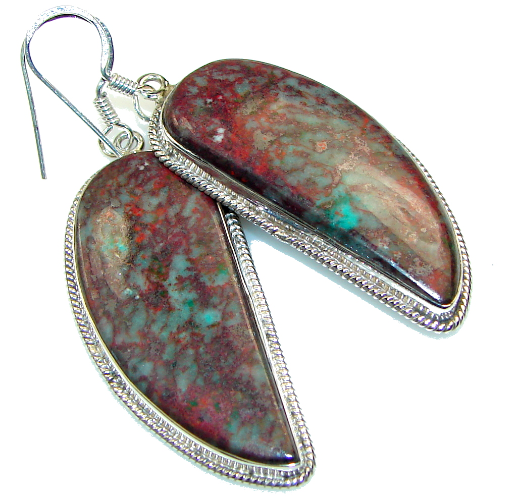 Basics!! Red Sonora Jasper Sterling Silver Earrings