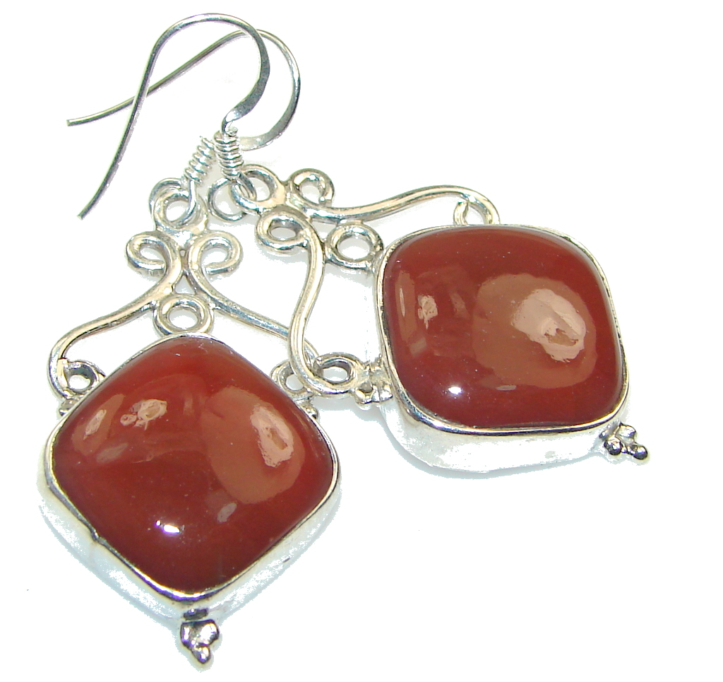 Simple Brown Carnelian Sterling Silver earrings