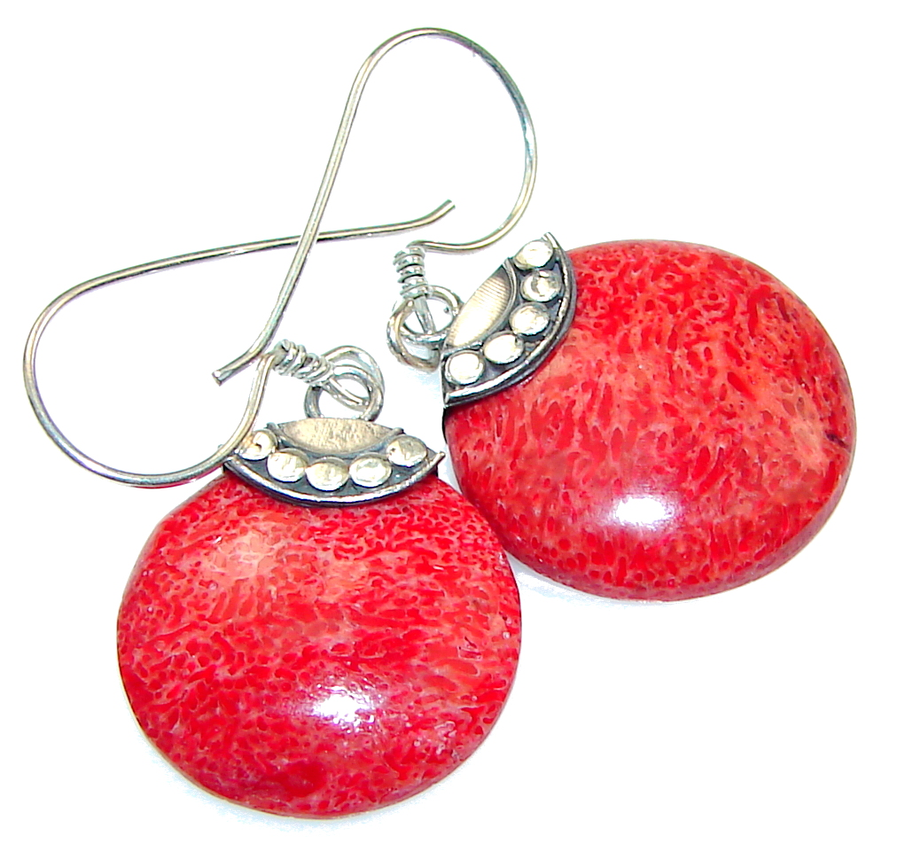 Petite! Red Fossilized Coral Sterling Silver earrings