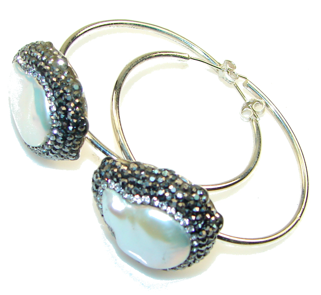 Large! Fashion Style, Mother of Pearl Sterling Silver earrings