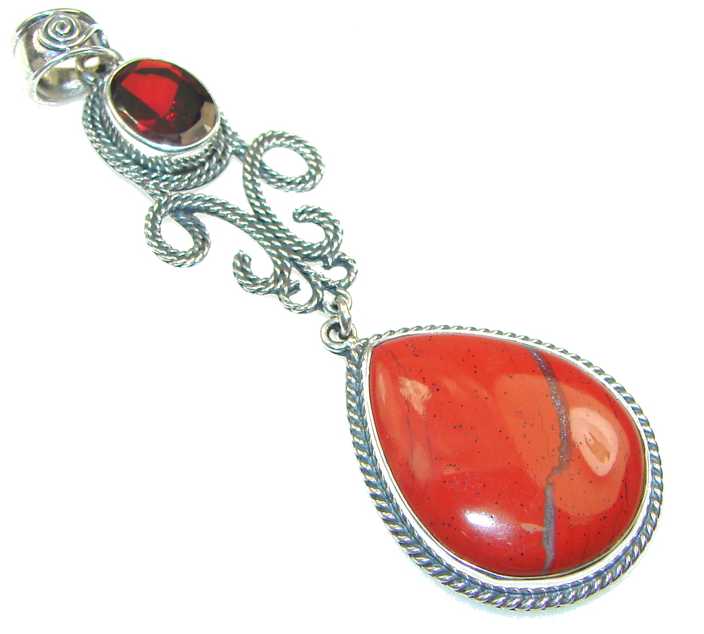 Ray Of Light! Red Jasper Sterling Silver Pendant 85990