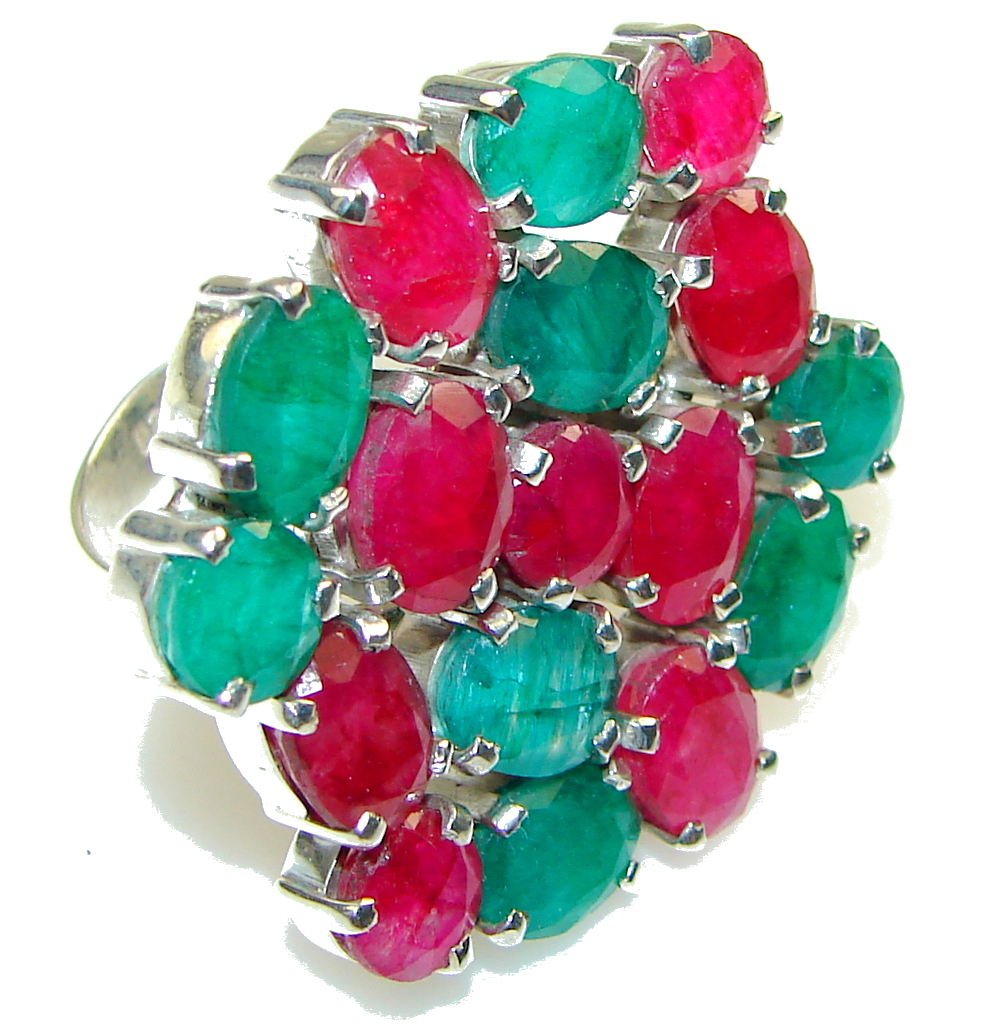 Halo Of Beauty!! Pink Ruby, Green Emerald Sterling Silver ring s. 8 1/4