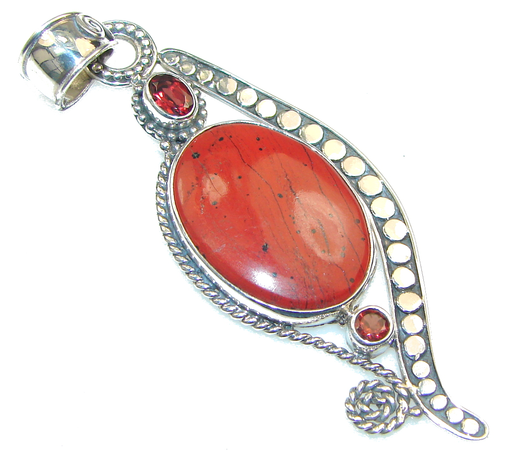 Ray Of Light! Red Jasper Sterling Silver Pendant 86025