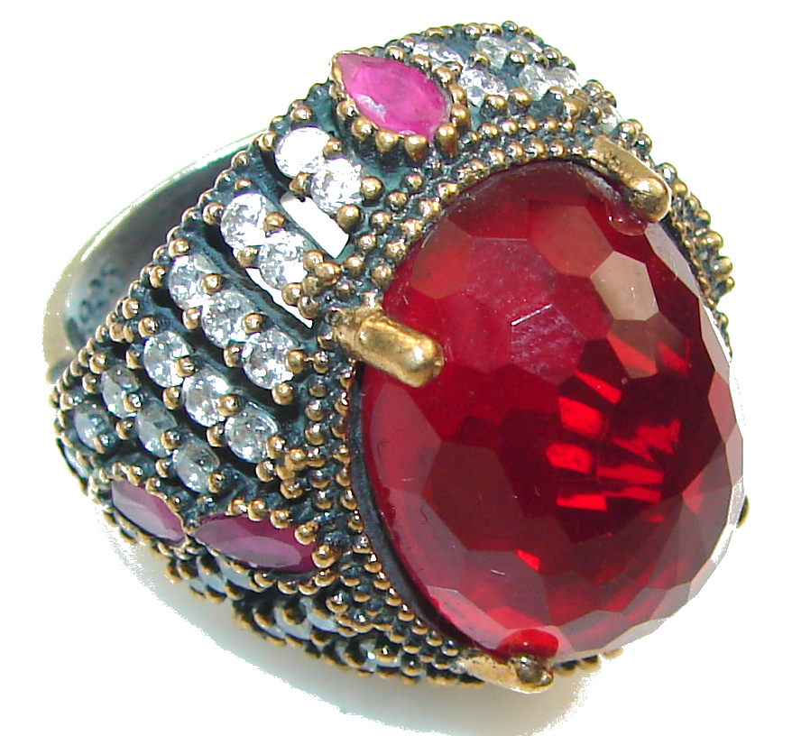Love Power!! Red Quartz Sterling Silver Ring s. 8