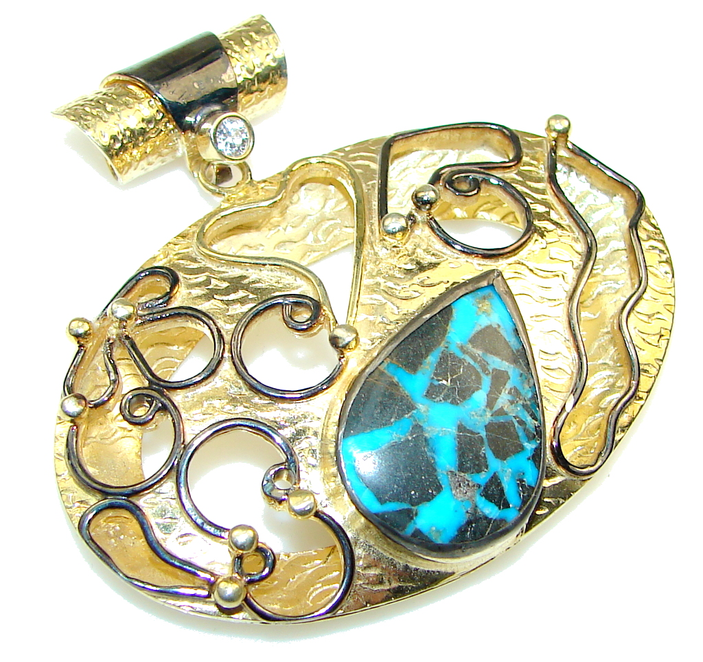 Love's Victory! Blue Turquoise, Gold Plated Sterling Silver Pendant
