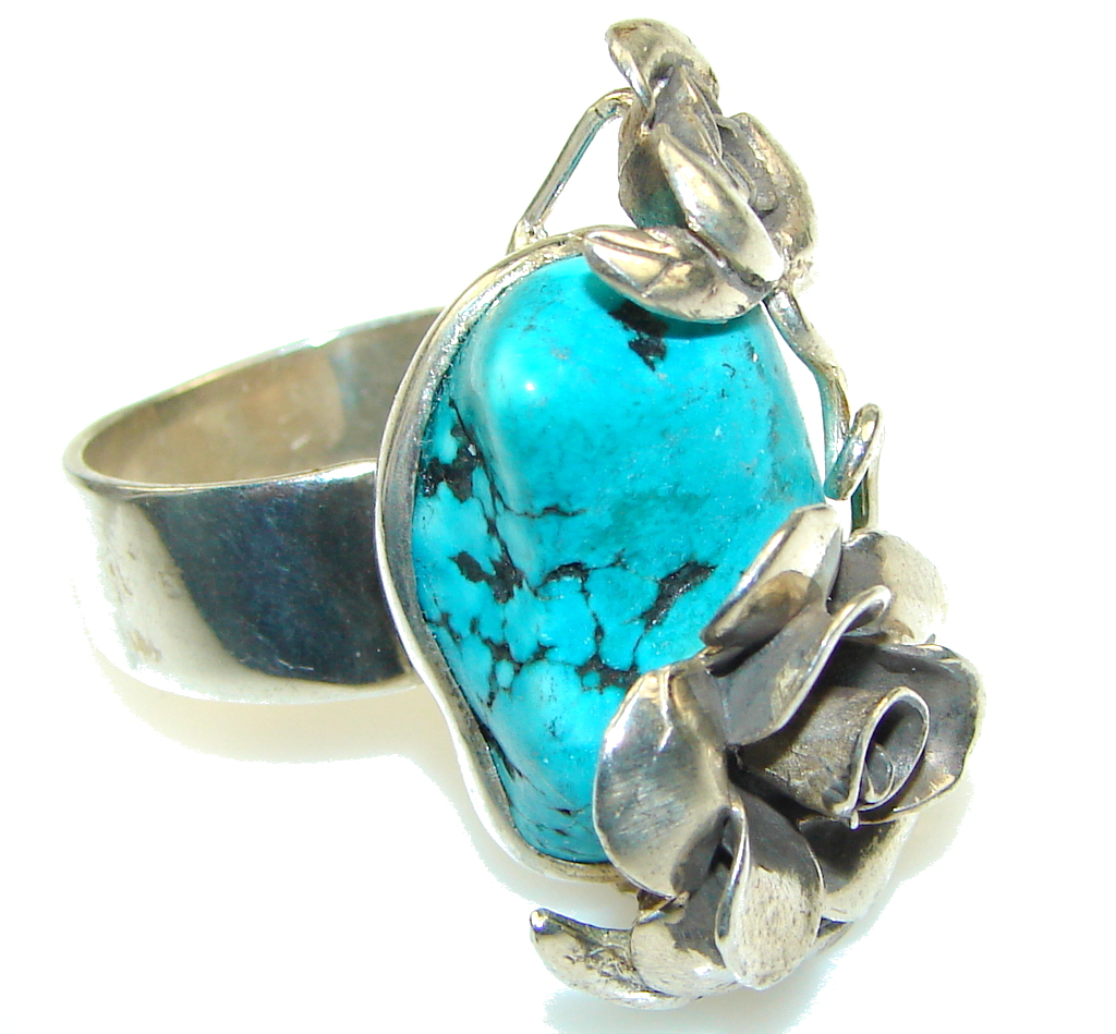 Fashion! Illusion Floral, Blue Turquoise Sterling Silver Ring s. 9- Adjustable