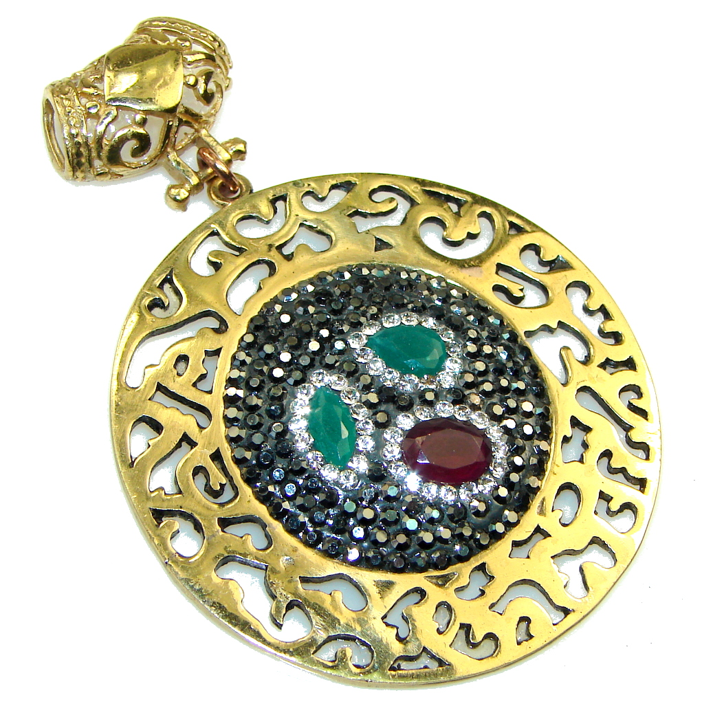 Turkish Style!! Green Emerald, Gold Plated Sterling Silver Pendant